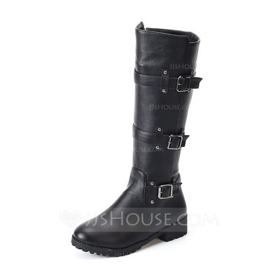 Women's Leatherette Low Heel Flats Closed Toe Boots Knee High Boots With Rivet Buckle shoes