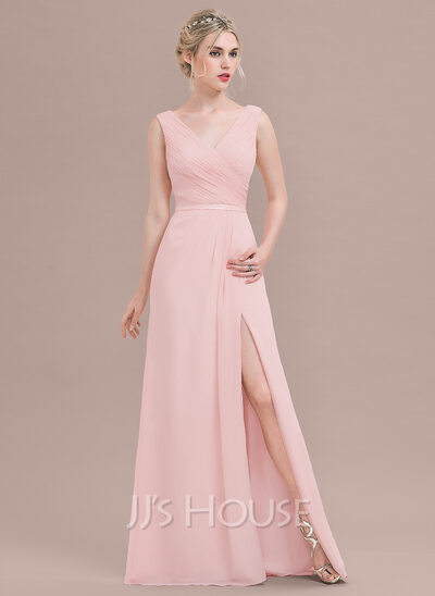 A Line Princess V Neck Floor Length Chiffon Bridesmaid