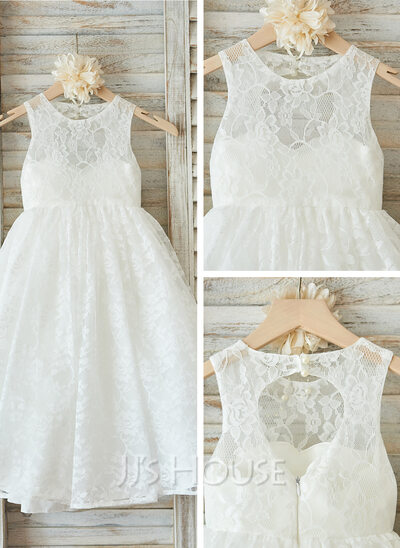 A-Line/Princess Floor-length Flower Girl Dress - Tulle/Lace Sleeveless Scoop Neck With Back Hole