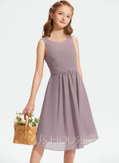 A-Line Scoop Neck Knee-Length Chiffon Junior Bridesmaid Dress With Ruffle