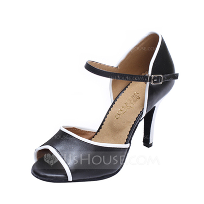 Women's Leatherette Heels Sandals Ballroom With Buckle Dance Shoes