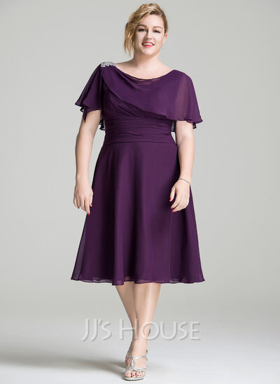 A-Line Cowl Neck Knee-Length Chiffon Mother of the Bride Dress With Beading Sequins Cascading Ruffles