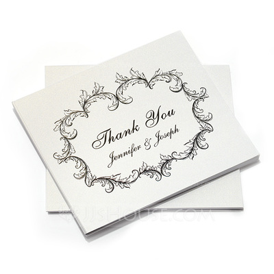 Personalized Floral Design Paper Thank You Cards (Set of 10)
