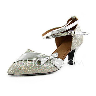 Women's Leatherette Sparkling Glitter Heels Pumps Ballroom With Bowknot Ankle Strap Dance Shoes