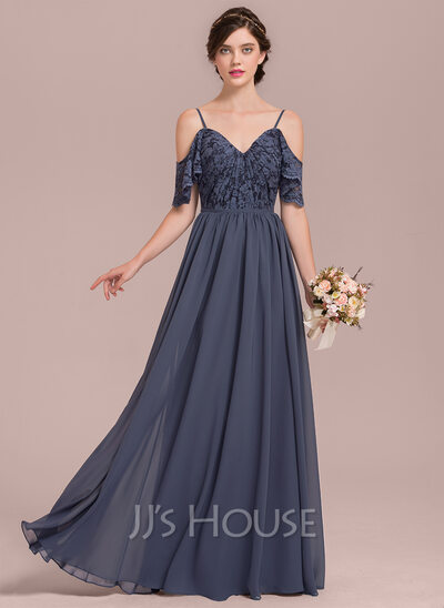 A Line Princess V Neck Floor Length Chiffon Lace Bridesmaid Dress With