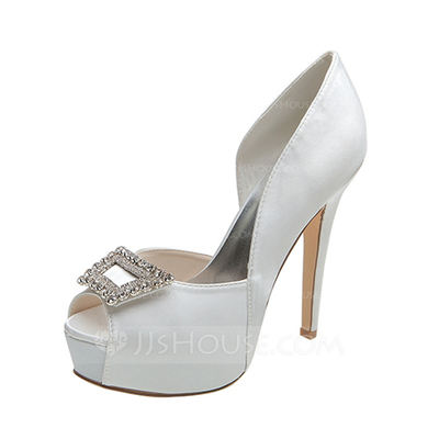 Women's Satin Stiletto Heel Peep Toe Pumps Sandals With Buckle Rhinestone