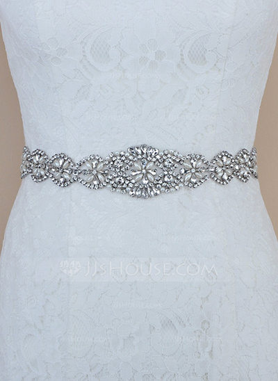 Unique Satin Sash With Crystal/Rhinestones