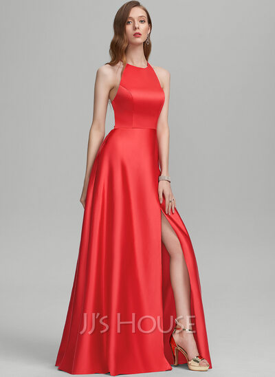 A-Line Scoop Neck Floor-Length Satin Prom Dresses With Split Front Pockets