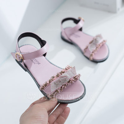 Girl's Peep Toe Slingback Leatherette Flat Heel Sandals Flats Flower Girl Shoes With Velcro Crystal