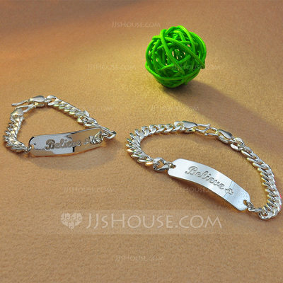 Personalized Ladies' Exquisite 925 Sterling Silver Engraved Bracelets Bracelets For Friends/For Couple