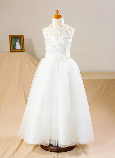 A-Line/Princess Floor-length Flower Girl Dress - Tulle/Lace Sleeveless Stand Collar