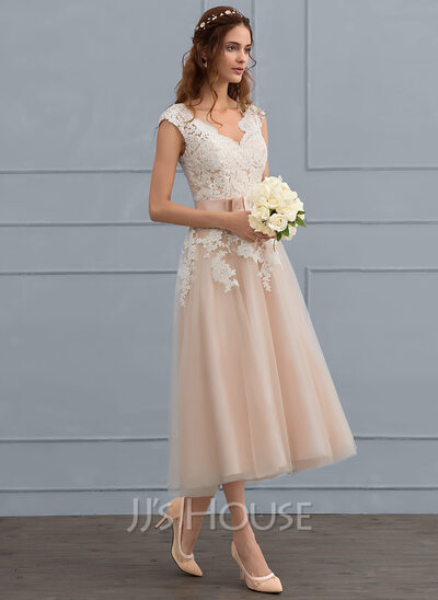 A-Line/Princess V-neck Tea-Length Tulle Wedding Dress With Bow(s ...