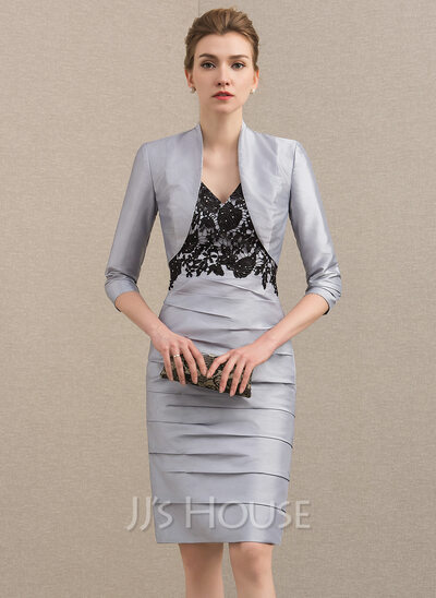 Sheath/Column V-neck Knee-Length Taffeta Mother of the Bride Dress