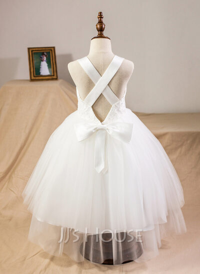 Ball-Gown/Princess Tea-Length Junior Bridesmaid Dress With Bow(s)