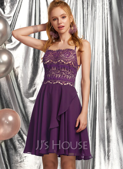 A-Line Square Neckline Short/Mini Chiffon Homecoming Dress With Lace