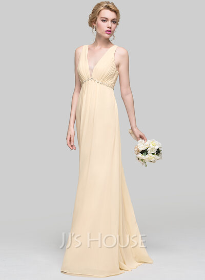 A-Line V-neck Floor-Length Chiffon Prom Dresses With Ruffle Beading Sequins Bow(s)