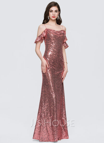 Sheath/Column Square Neckline Floor-Length Sequined Prom Dresses With Cascading Ruffles