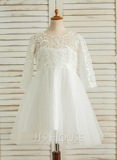 A-Line/Princess Knee-length Flower Girl Dress - Satin/Tulle Long Sleeves Scoop Neck With Lace