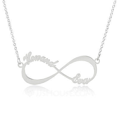 Custom Sterling Silver Infinity Two Name Necklace Infinity Name Necklace - Valentines Gifts