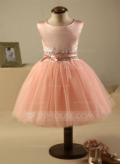 A-Line/Princess Knee-length Flower Girl Dress - Polyester/Cotton Sleeveless Scoop Neck With Beading/Bow(s)