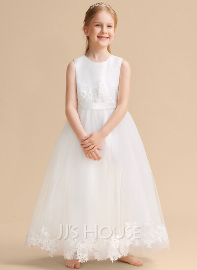Ball-Gown/Princess Ankle-length Flower Girl Dress - Satin/Tulle/Lace Sleeveless Scoop Neck
