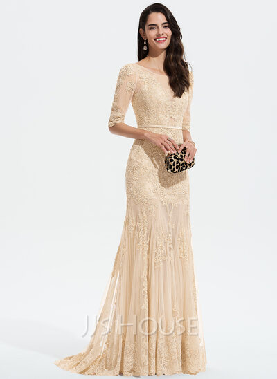 Trumpet/Mermaid Scoop Neck Sweep Train Tulle Prom Dresses With Lace