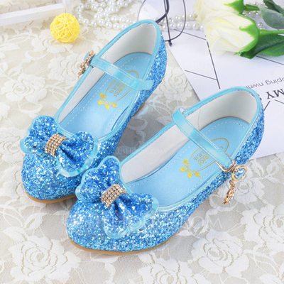 Girl's Closed Toe Leatherette Low Heel Flower Girl Shoes With Bowknot Buckle Sparkling Glitter