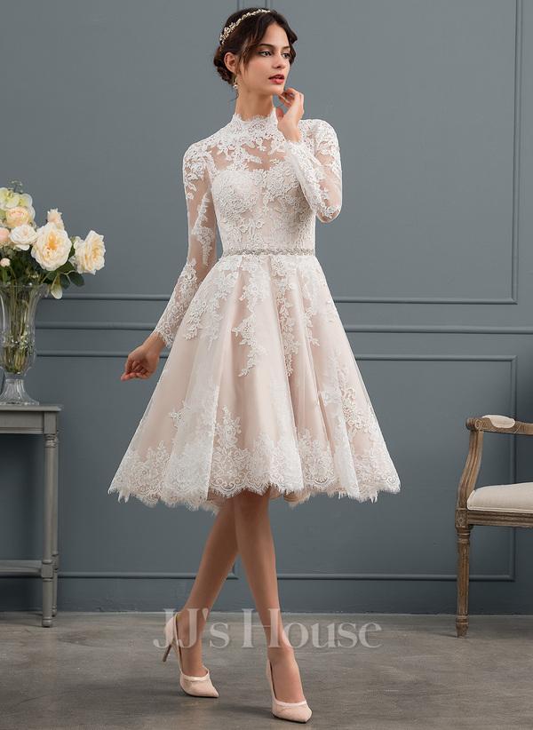 A-Line Illusion Knee-Length Lace Wedding Dress (002153435)