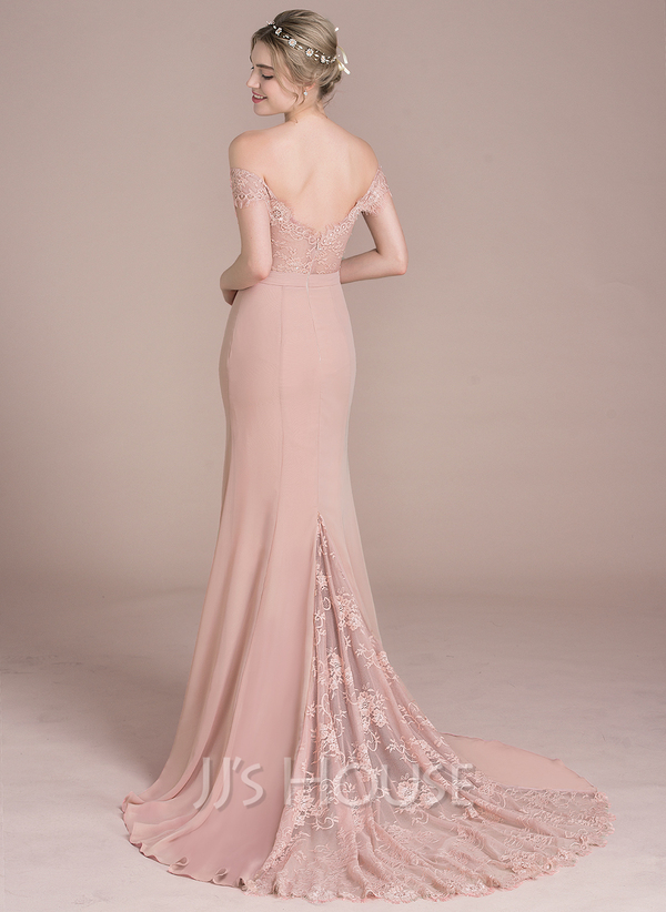eb0113dde96 Trumpet Mermaid Off-the-Shoulder Court Train Chiffon Lace Prom Dresses With  Beading