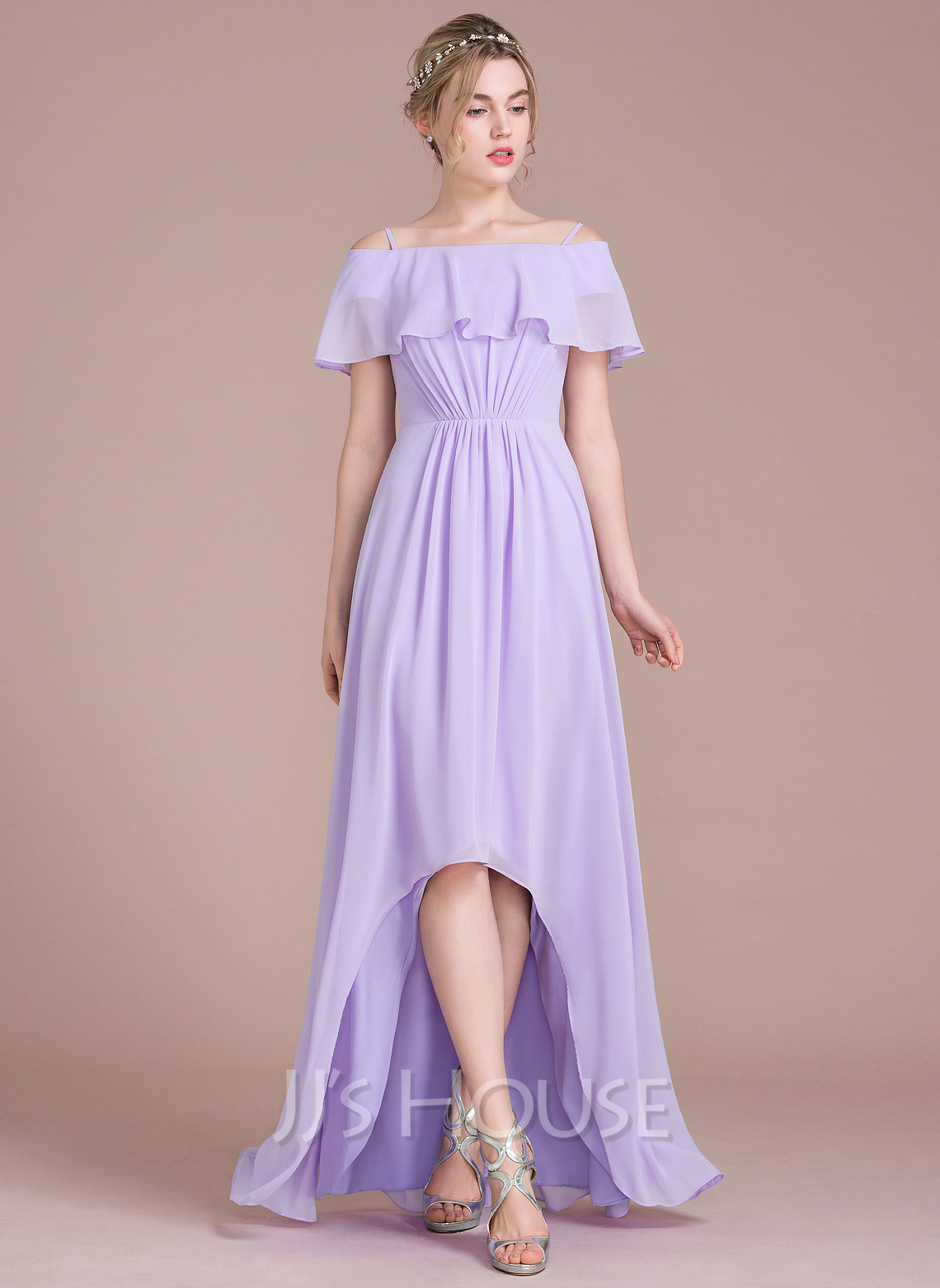 A-Line/Princess Off-the-Shoulder Asymmetrical Chiffon Bridesmaid ...