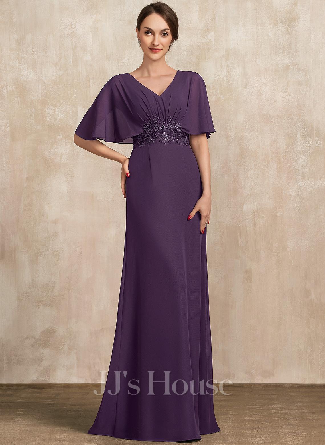 A-Linie V-Ausschnitt Bodenlang Chiffon Kleid für die Brautmutter mit Spitze Pailletten