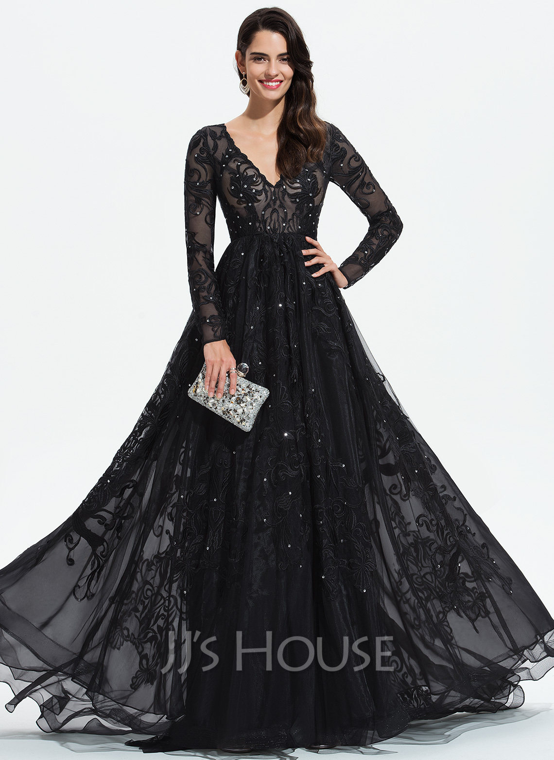 8e33c3812 Ball-Gown/Princess V-neck Sweep Train Tulle Prom Dresses With Lace Sequins. Loading  zoom