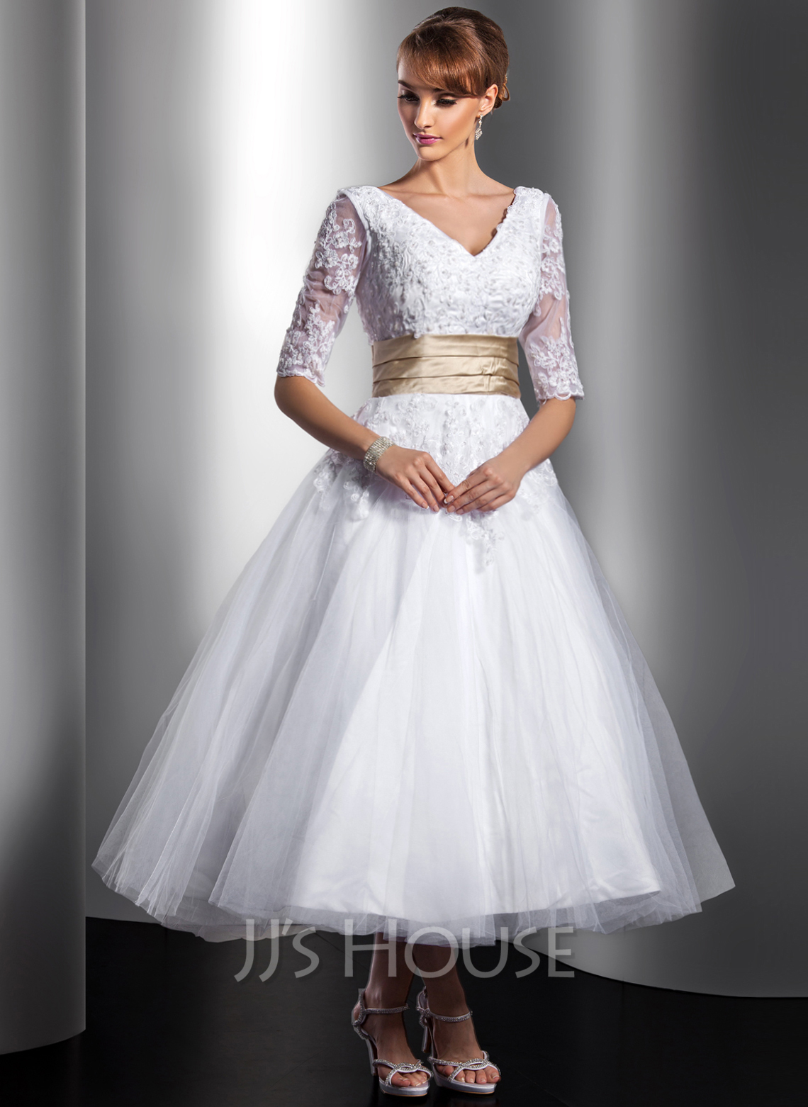 c92021bcb10 Ball-Gown V-neck Tea-Length Tulle Wedding Dress With Sash Beading  Appliques. Loading zoom