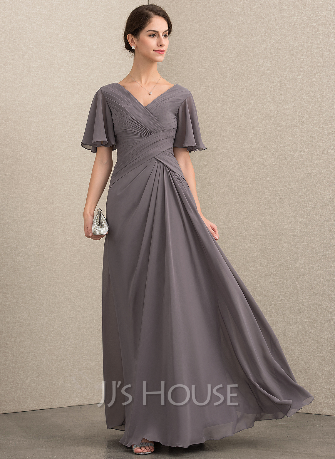 V-neck Floor-Length Chiffon Mother of the Bride Dress With Ruffle