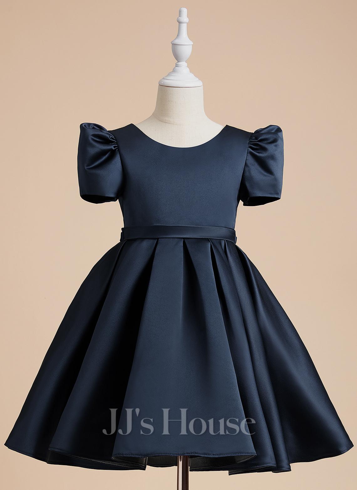 A-Line Knee-length Flower Girl Dress - Satin Short Sleeves Scoop Neck