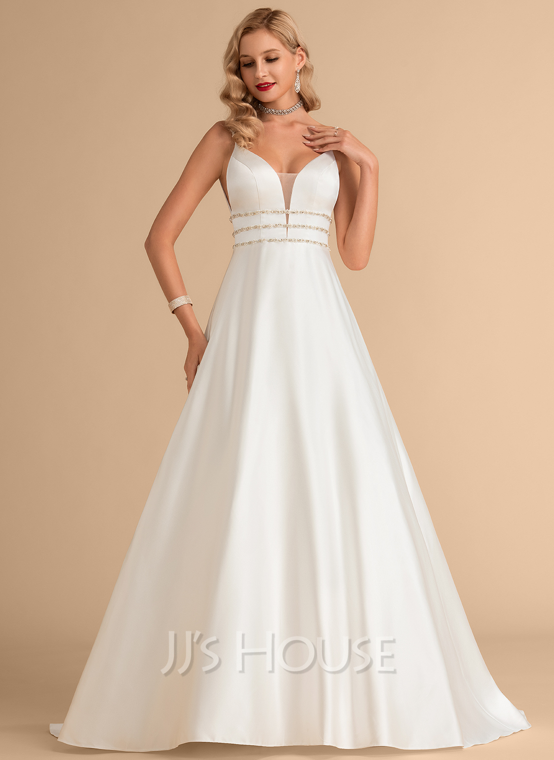 Ball-Gown/Princess V-neck Sweep Train Satin Wedding Dress With Beading