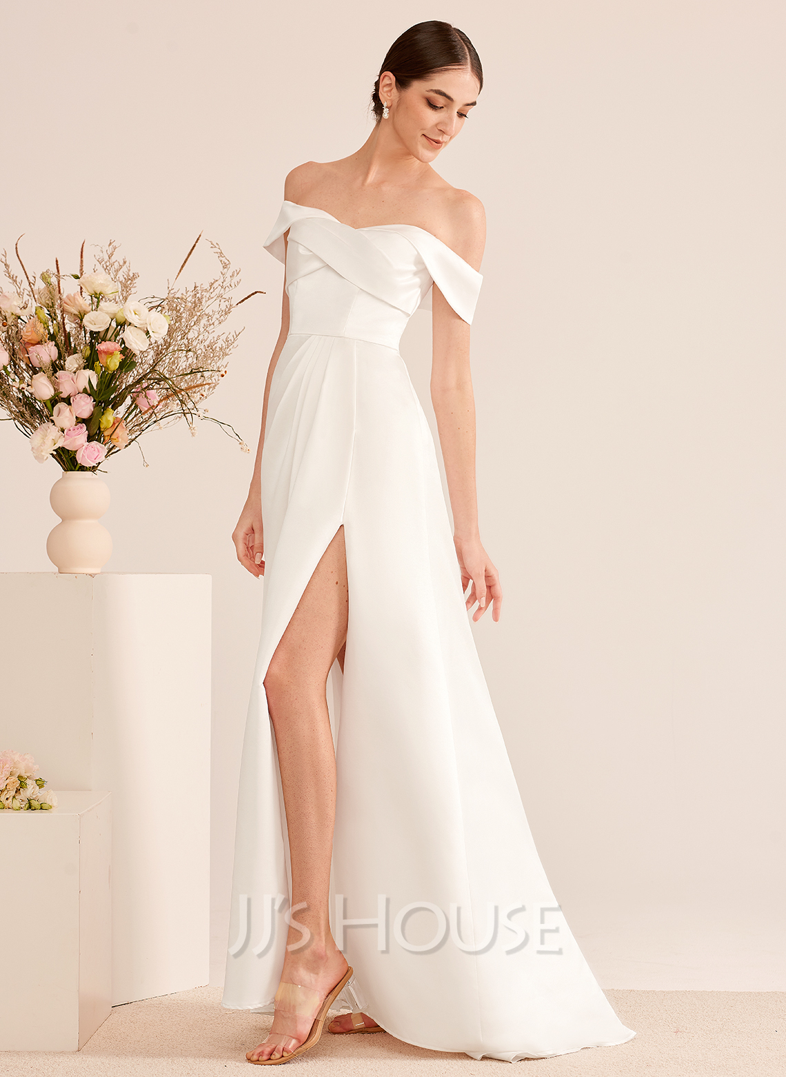 A-Line Off-the-Shoulder Sweep Train Wedding Dress With Ruffle Split Front