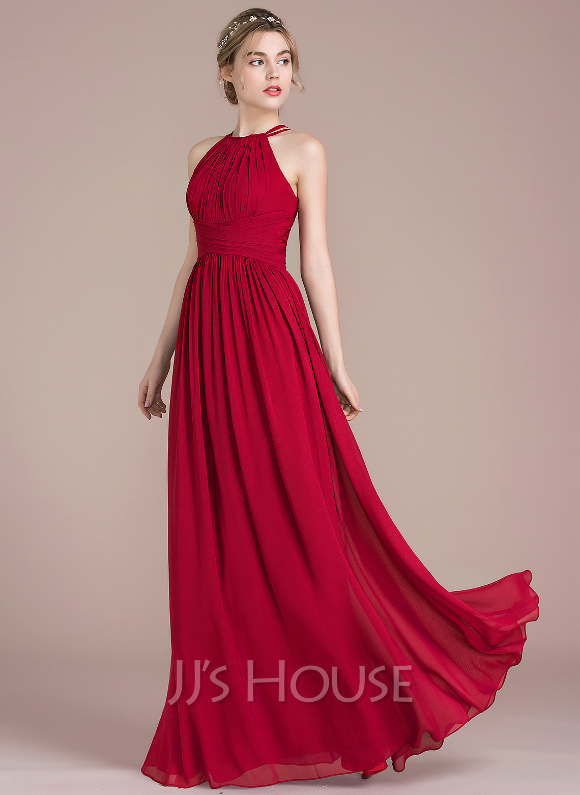 8d69a65b2c9 A-Line Princess Scoop Neck Floor-Length Chiffon Prom Dresses With Ruffle. Loading  zoom