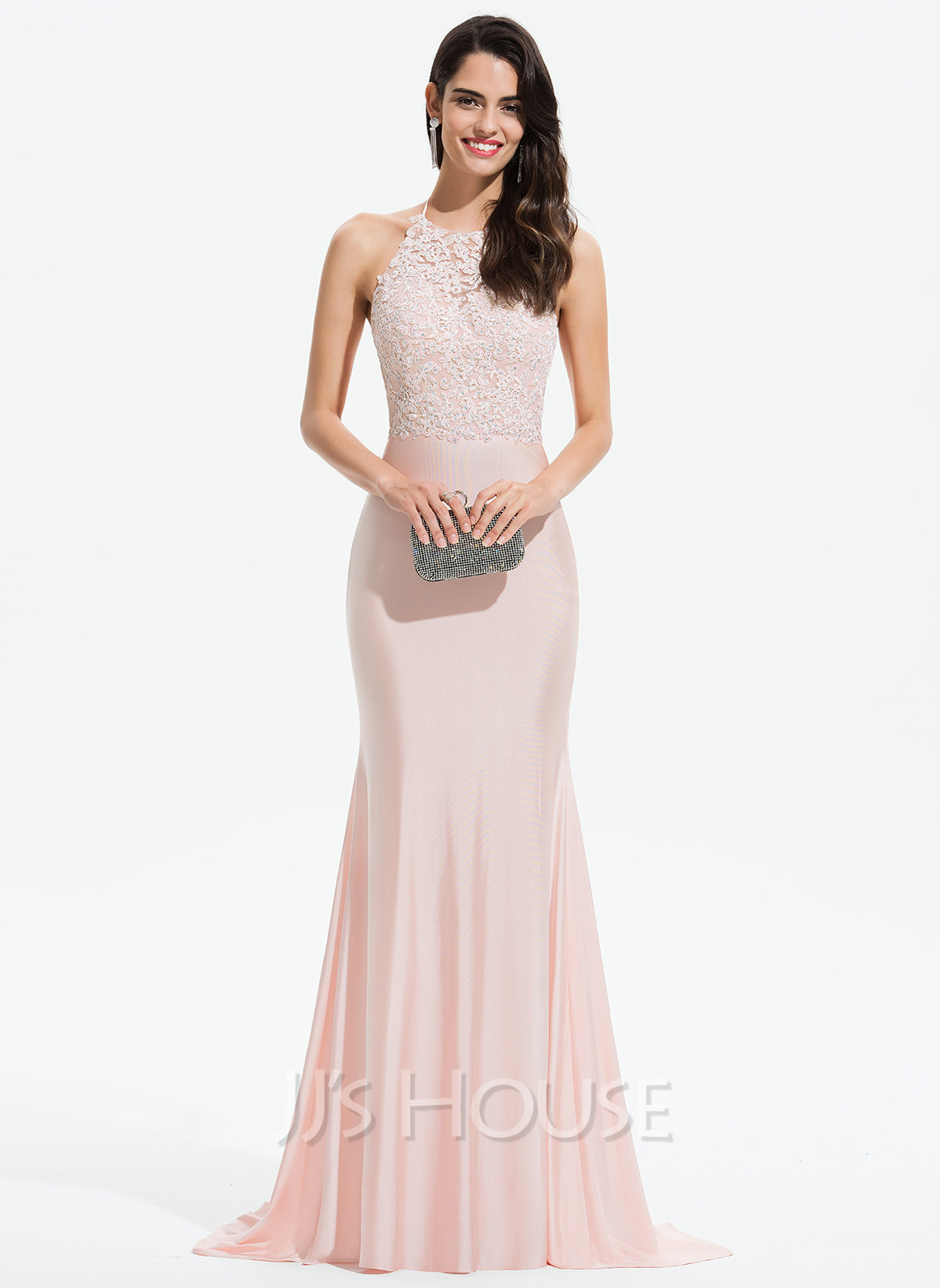 111bee1a21580 Trumpet/Mermaid Halter Sweep Train Jersey Prom Dresses With Lace Beading.  Loading zoom