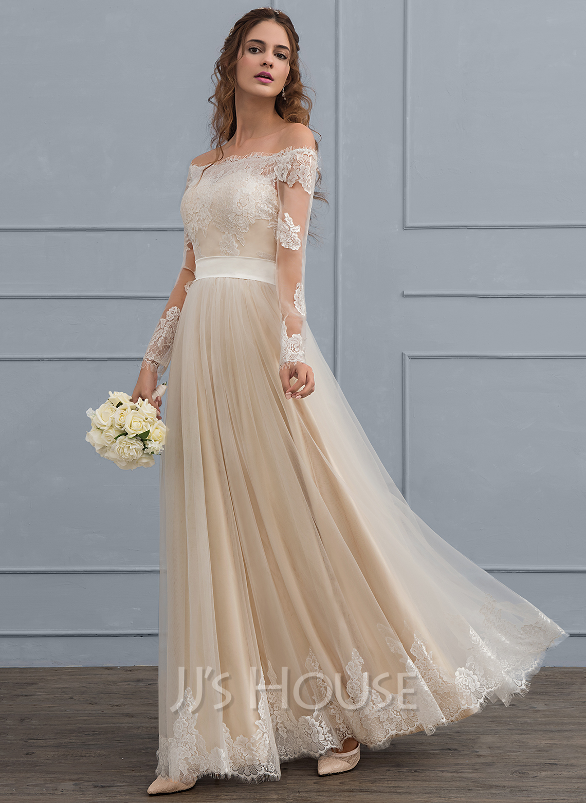 A line princess off the shoulder floor length tulle lace for Tulle a line wedding dress