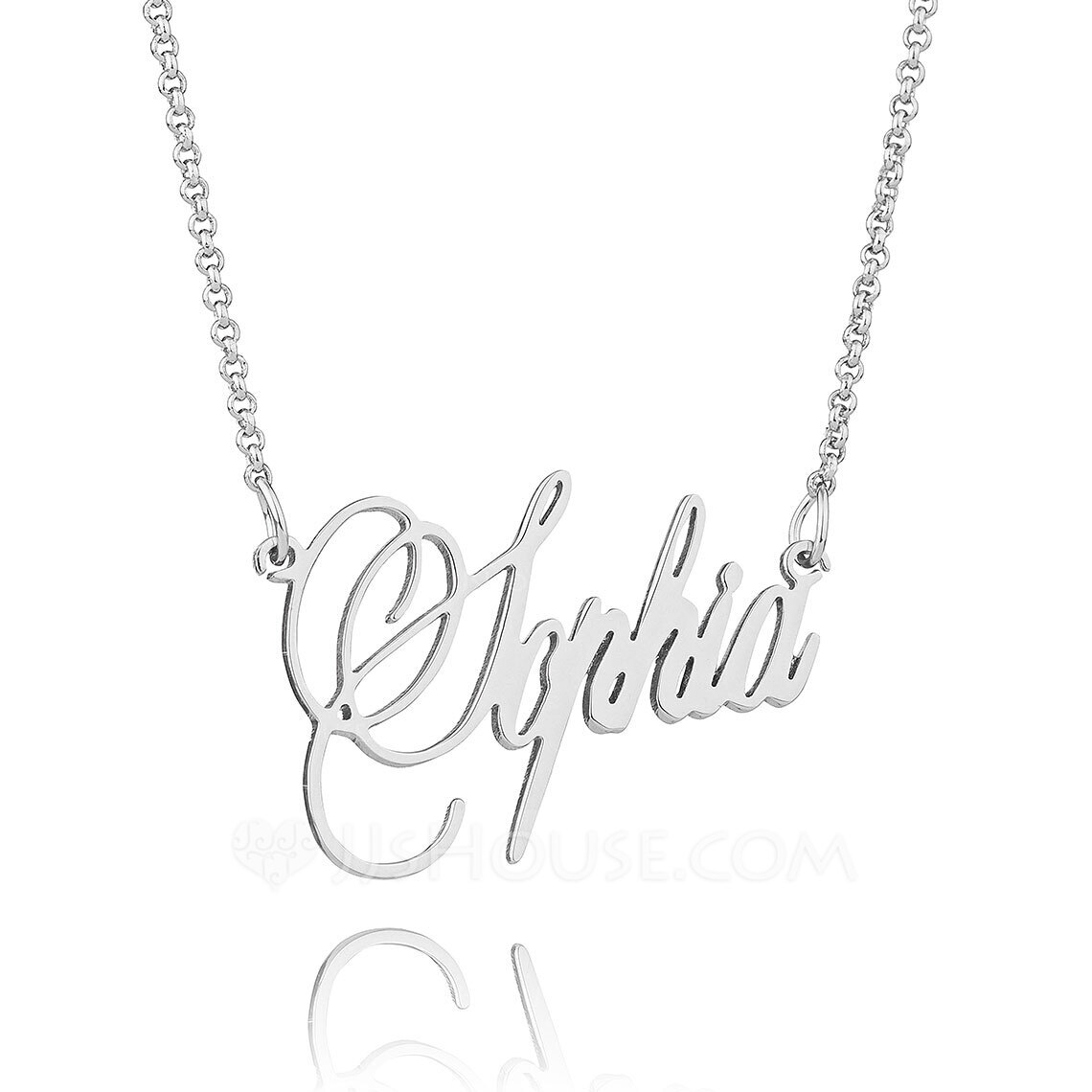 [Free Shipping]Custom Sterling Silver Signature Cursive Name Necklace