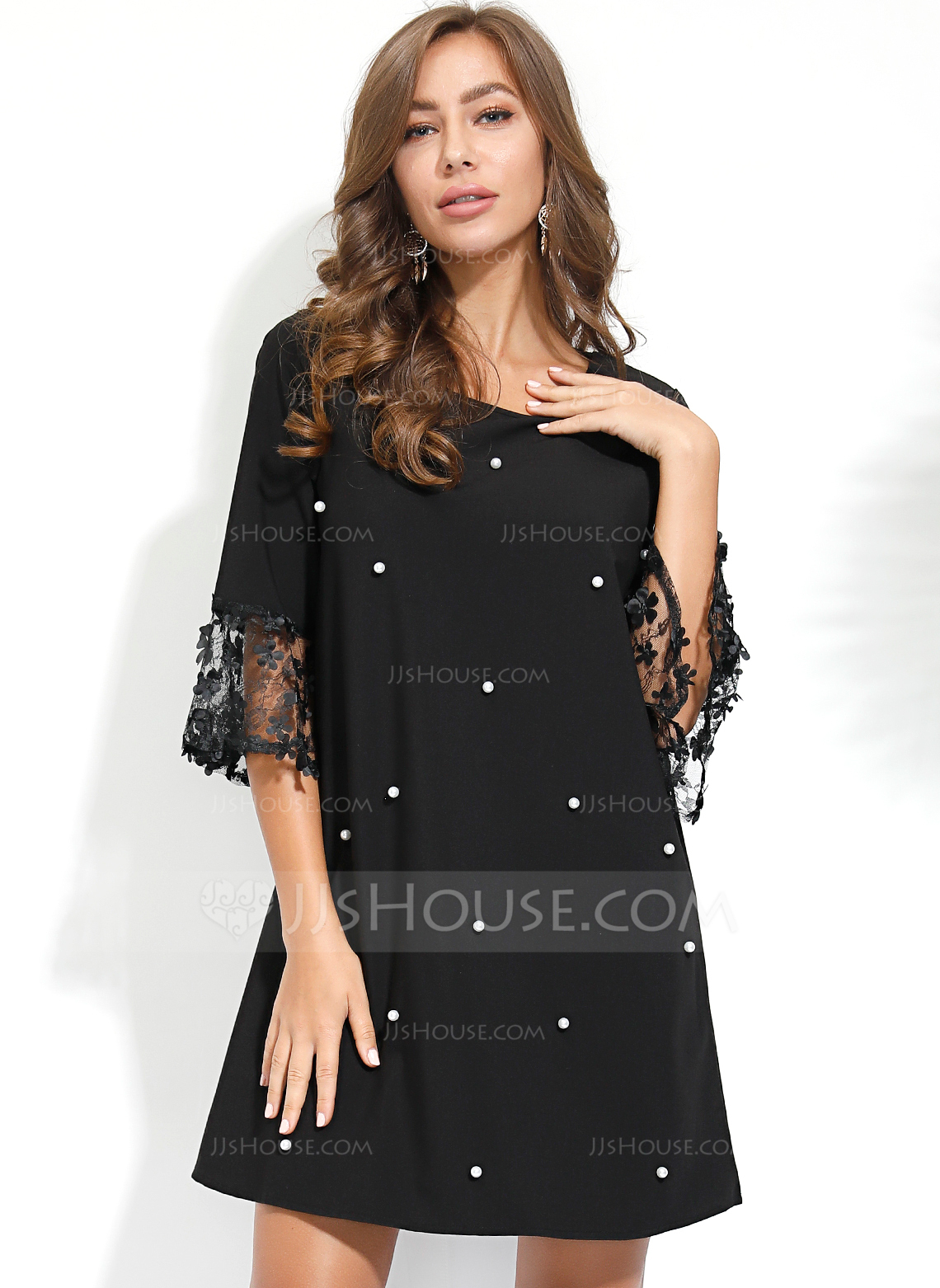 Polyester With Lace/Beading/Solid Above Knee Dress