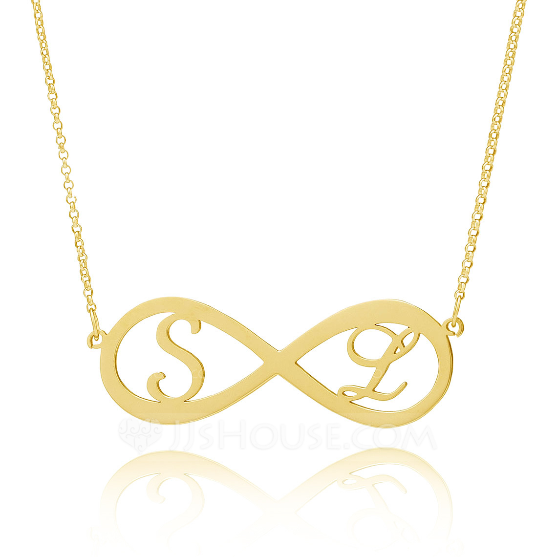 Custom 18k Gold Plated Silver Initial Couple Hollow Carved Two Initial Necklace Infinity Name Necklace - Birthday Gifts Mother's Day Gifts
