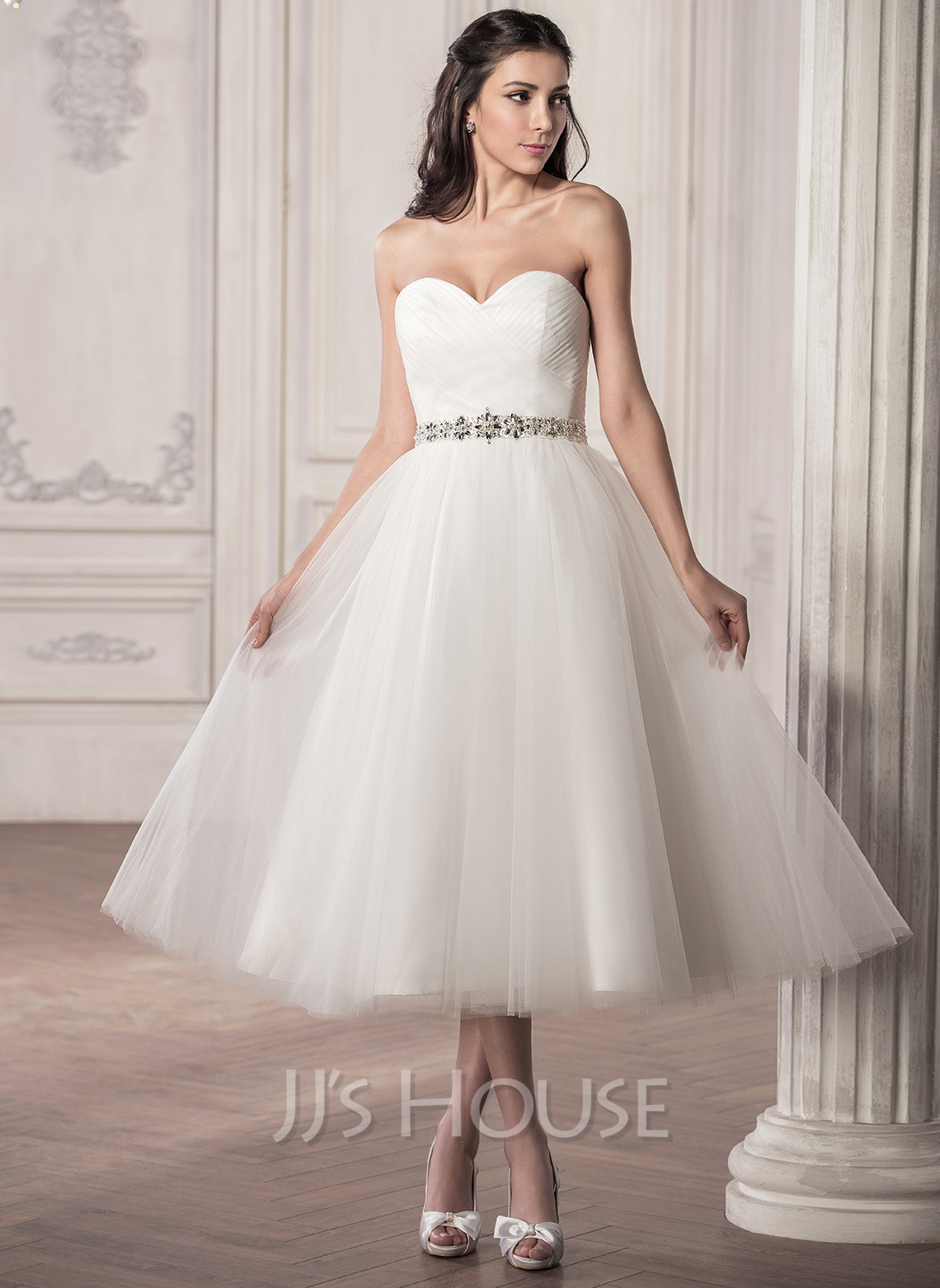 A line princess sweetheart tea length tulle wedding dress for Shoes for tea length wedding dress