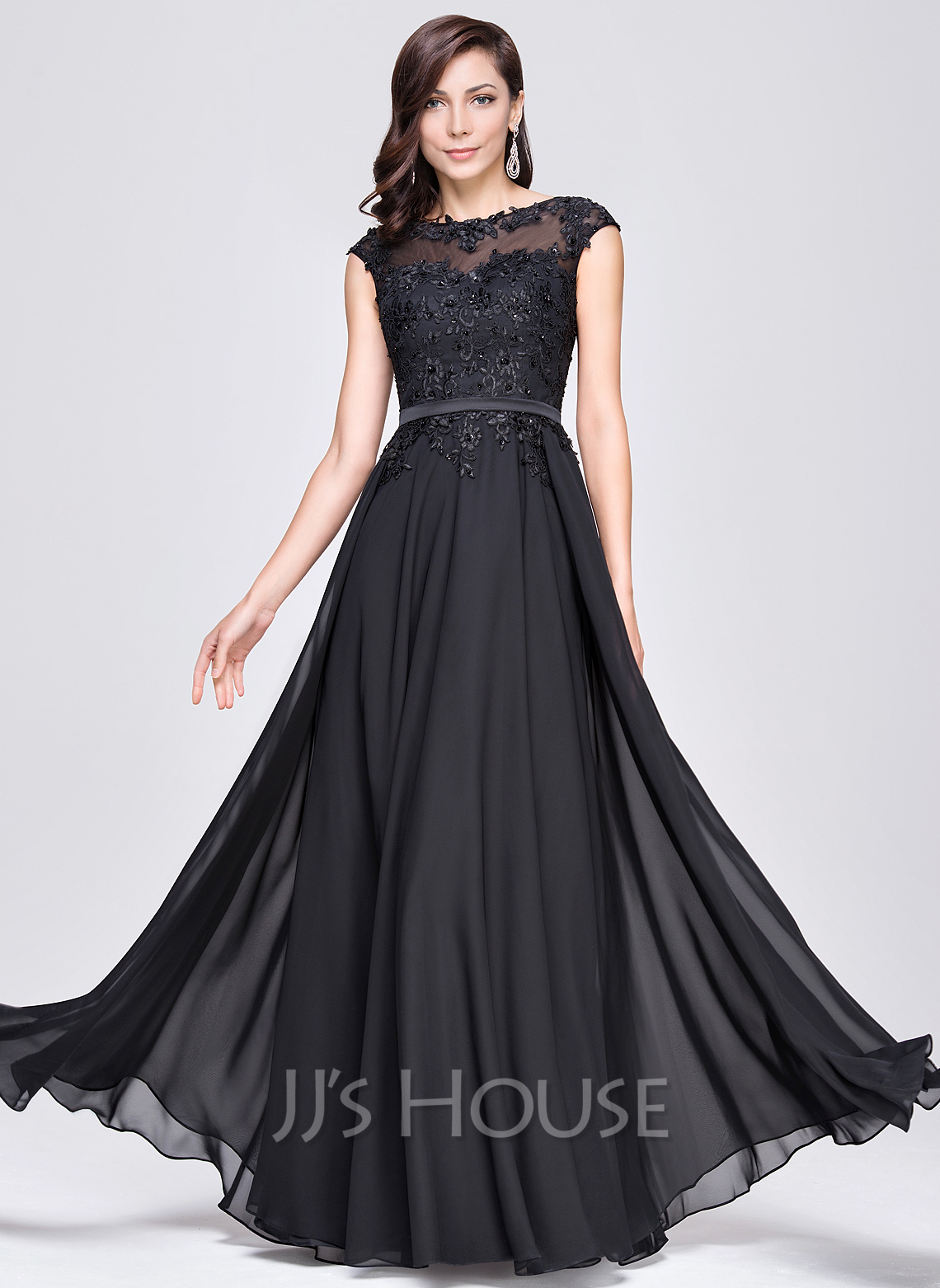 b386b2bc99697 A-Line/Princess Scoop Neck Floor-Length Chiffon Evening Dress With Beading  Appliques. Loading zoom