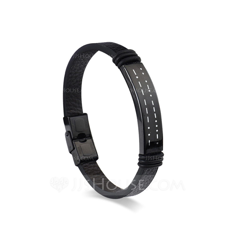 Personalized Vintage Adjustable Mens Custom Engraved Morse Code Father's Day Gifts Stainless Steel Leather Bracelets