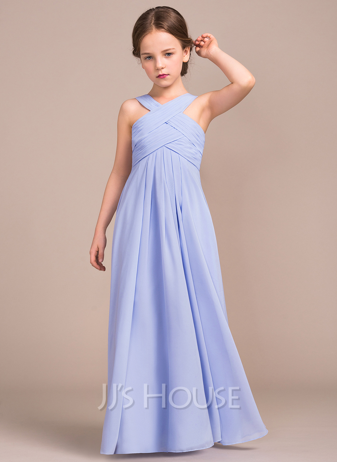A lineprincess v neck floor length chiffon junior bridesmaid a lineprincess v neck floor length chiffon junior bridesmaid dress with loading zoom ombrellifo Images