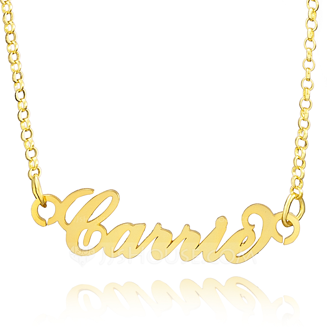 Custom 18k Gold Plated Silver Plate Carrie Name Necklace - Birthday Gifts Mother's Day Gifts