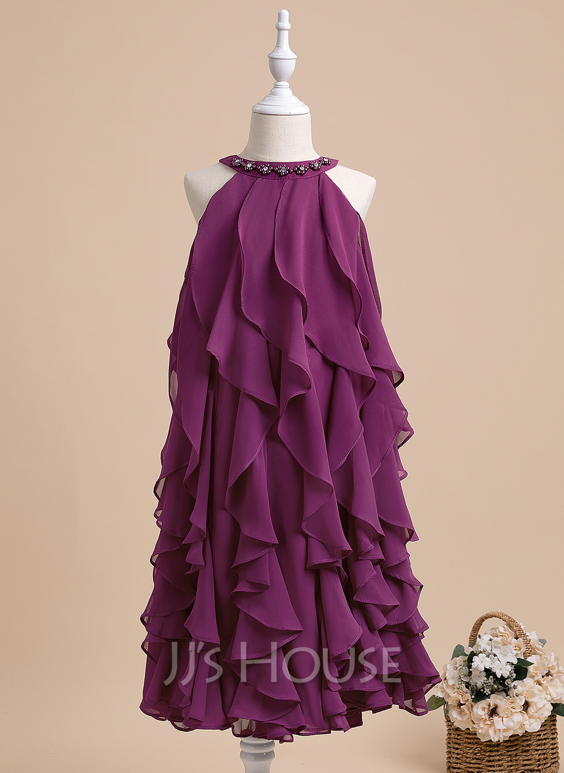 A-Line Tea-length Flower Girl Dress - Sleeveless Scalloped Neck With Beading