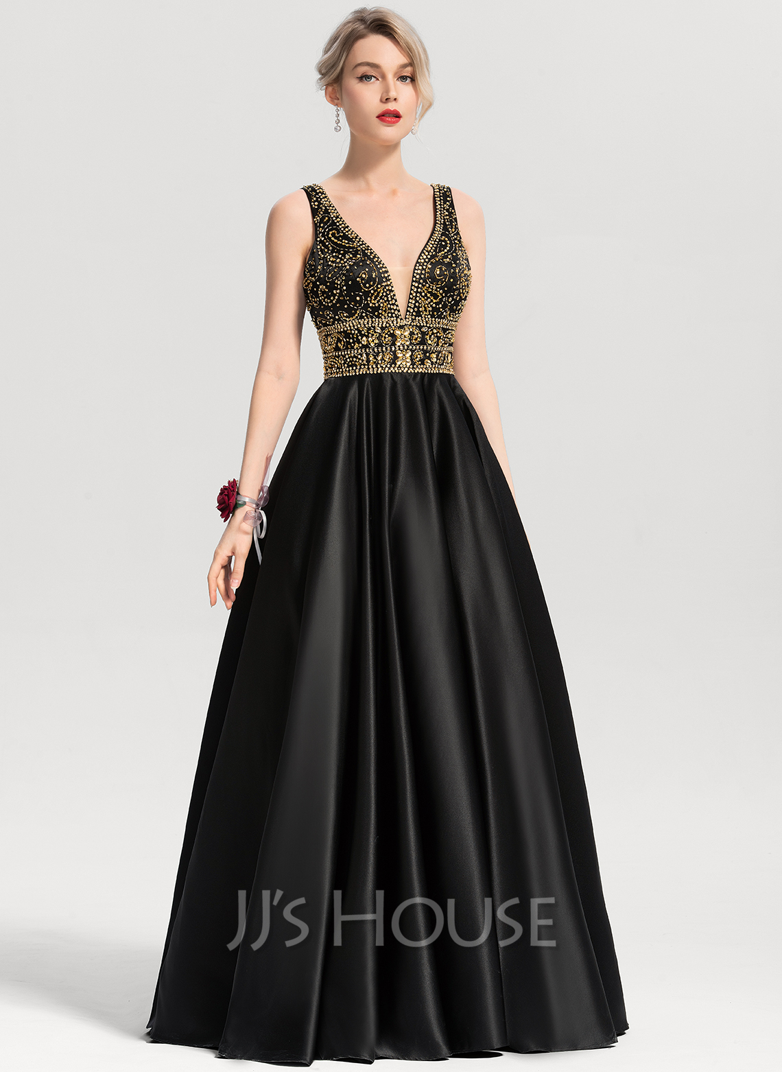 Ball Gown V Neck Floor Length Satin Prom Dresses With Beading Sequins Loading Zoom